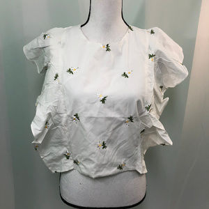 English Factory Floral Flutter Sides Top NWT